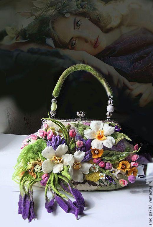 """Купить арт-сумочка """"Tesoro"""" (Ненаглядная) - розовый, весенний букет, арт-сумка, сумка с цветами"""