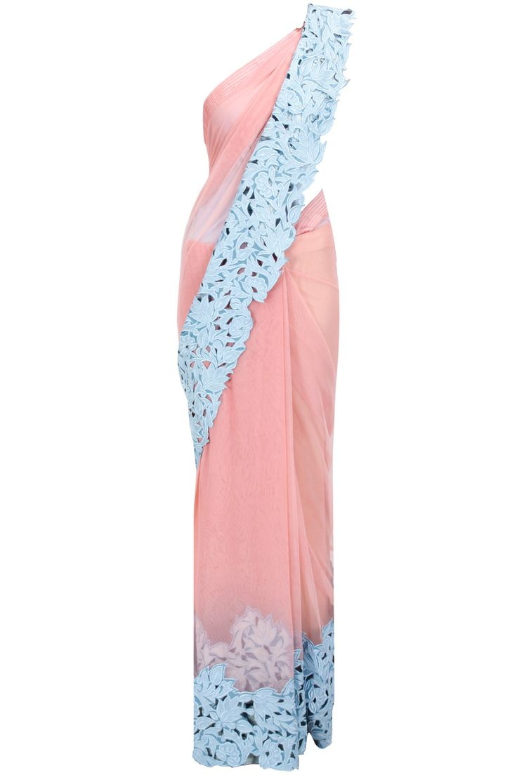 Pink net sari with blue cutwork border available only at Pernia's Pop-Up Shop.
