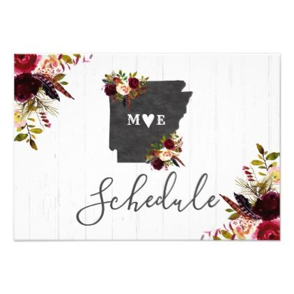 Arkansas State Destination Rustic Wedding Schedule Card - burgundy style stylish cyo diy customize
