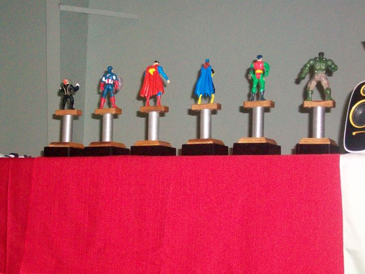 We made trophies using superheroes, plywood, and a base from a local trophy shop.  They were a hit.
