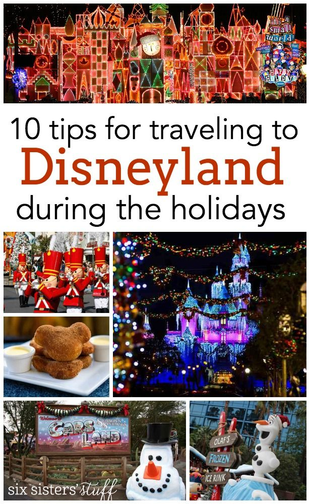 10 tips for traveling to Disneyland during the holidays!  SixSistersStuff.com | Disneyland can be absolutely magical during the holiday season!  The only downside can be fighting the crowds, so we've got a few tips to help you get the most of your trip!