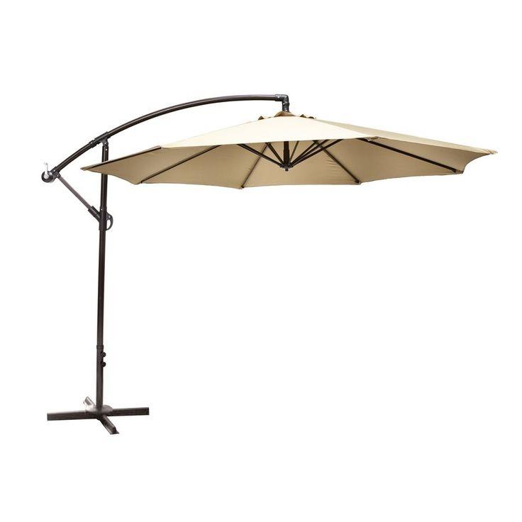 garden treasures 10ft offset beige octagon patio umbrella with crank loweu0027s canada