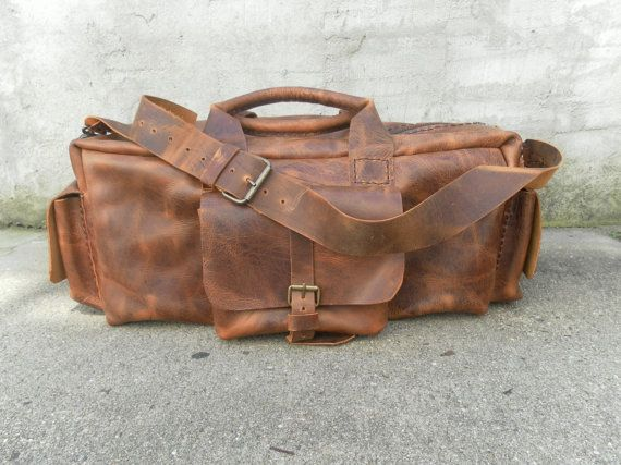 Leather Duffle bag,Handmade Bag, Travel Weekend Bag For Men, Mens Accessories,Rustic Retro Bag