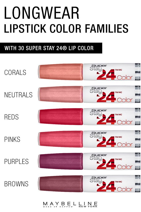 All day 24-hour lip color available in 30 beautiful shades ranging from corals, neutrals, reds, pinks, purples, and browns.  Maybelline Super Stay 24 Hour Lip Color won't cake, dry, or flake on you thanks to a unique Micro-Flex formula. Click through to view all of the longwear liquid  lipstick shades in this collection.