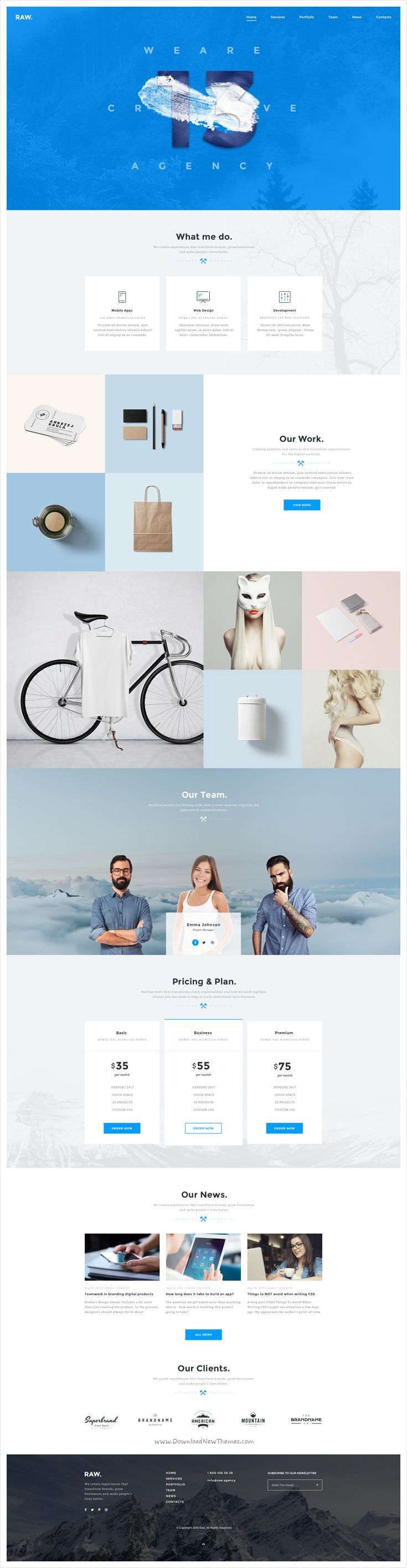 Raw is a clean and #creative #PSD #template  for #webdev people, freelancers, developers, digital agencies websites download now➩ https://themeforest.net/item/raw-psd-template/19324243?ref=Datasata