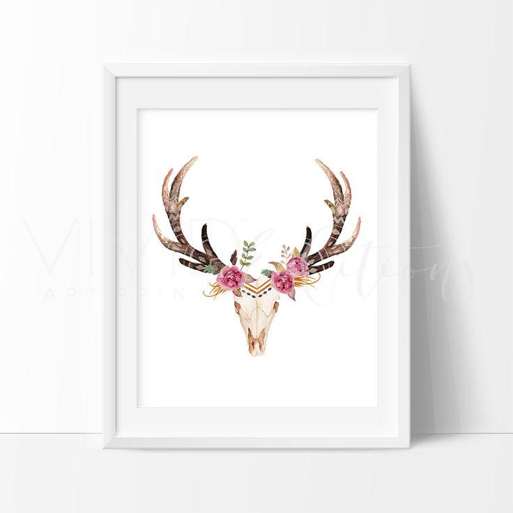 Floral Deer Skull Boho Tribal Watercolor Art Print - VIVIDEDITIONS