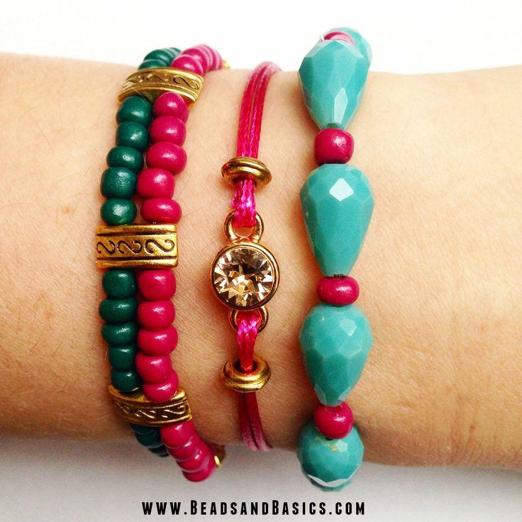 DIY Tutorial / Beads / Zelf sieraden maken / Armbandjes / Ketting / Kralen / roze en turkoois armbandjes / Tibetaanse kralen goud / kralen webshop
