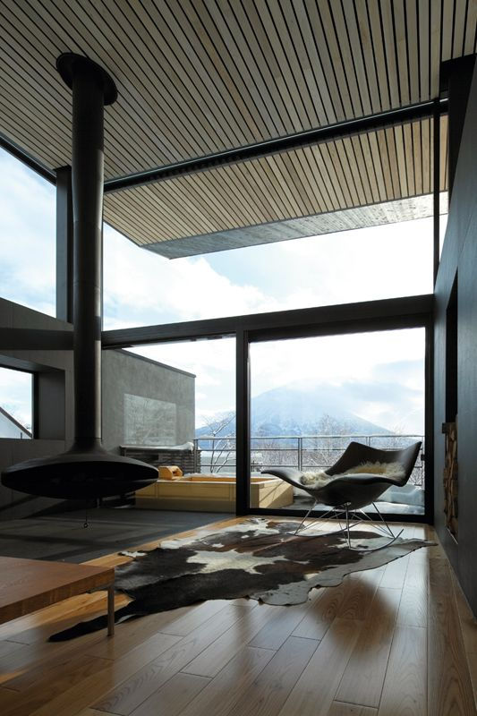 rural minimalismModern Room, Living Room Windows, Fireplaces, Livingroom, The View, Interiors Design, Cowhide Rugs, Architecture, House