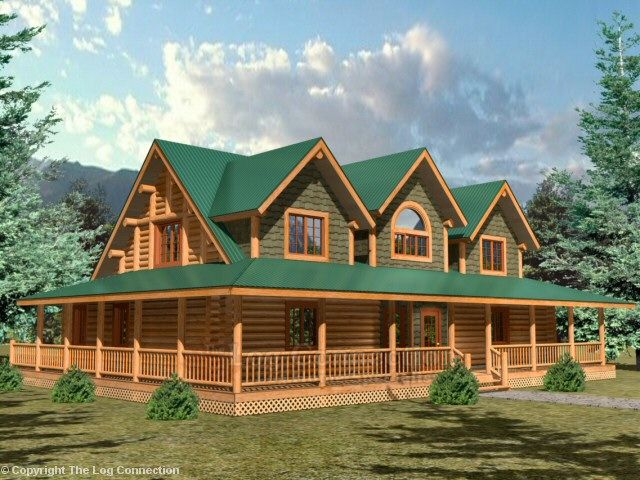 1000 images about log home plans on pinterest log cabin for Full wrap around porch log homes