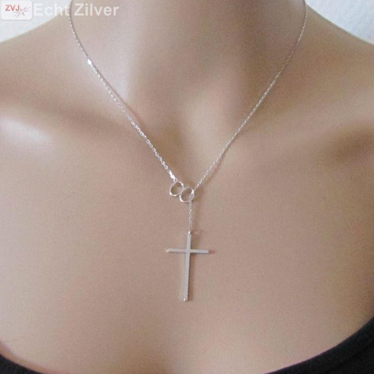 Zilveren infinity kruis rhodium collier - ZilverVoorJou Echt 925 zilveren sieraden