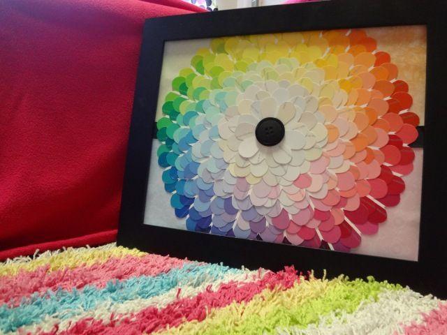 What a cute idea!! paint chip flower