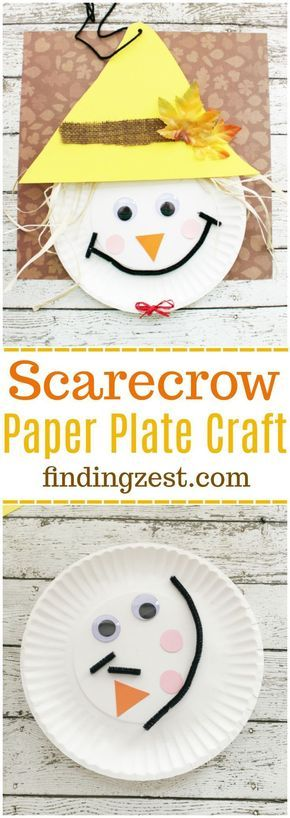 Scarecrow Paper Plate Craft for Thanksgiving or fall! This kid craft is perfect for preschool and elementary school aged kids.