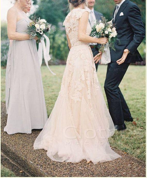 Custom made v-neck lace wedding dress on Etsy, $268.99