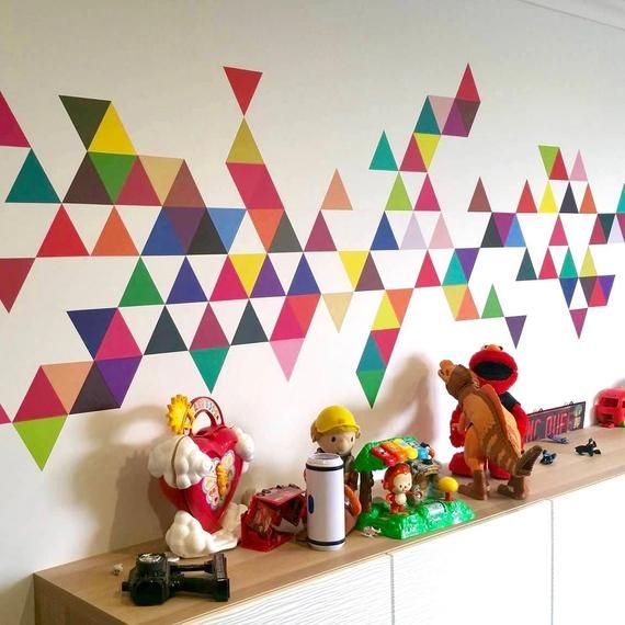 Triangle Wall Decals 45 Mod Colors Triangle Wall Decal Etsy