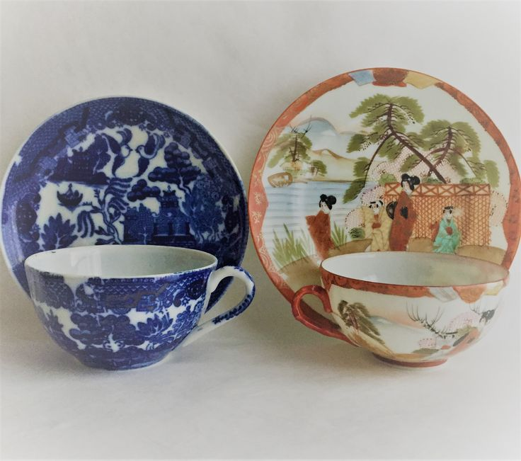 $28  vintage Japanese tea cups set of two fine porcelain Asian teacups blue and white and hand painted Asian teacups and saucers by GlyndasVintageshop on Etsy