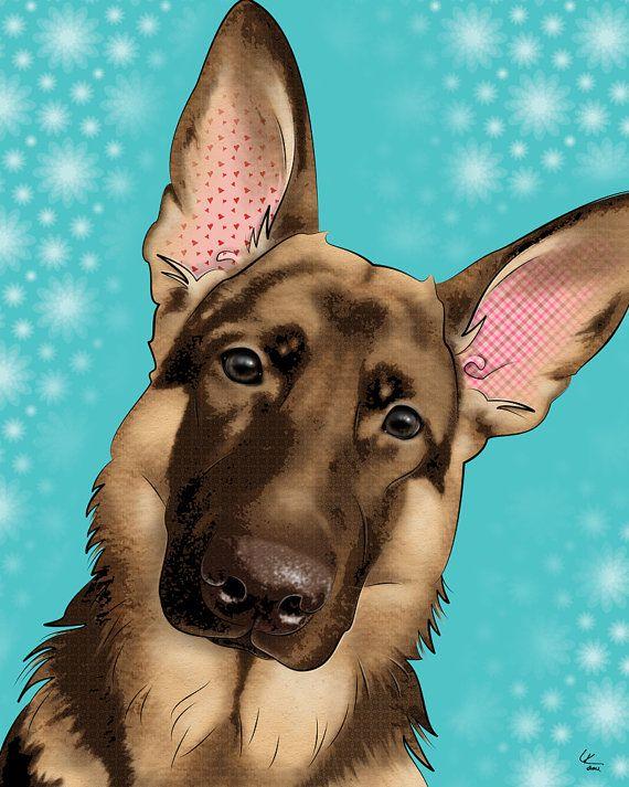 "German Shepard, 11x14"" Pop Art Print, Dog Art PopDogDesigns"
