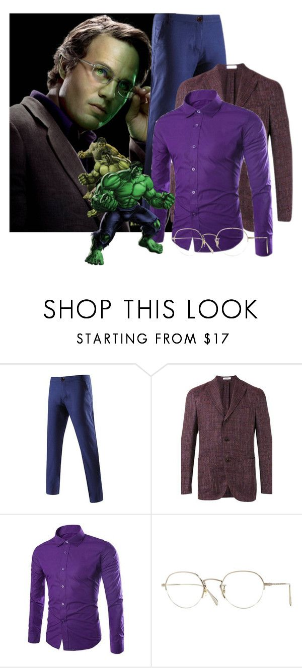 """""""David Banner - The Hulk"""" by dprice15 ❤ liked on Polyvore featuring Marvel, Boglioli, Oliver Peoples, men's fashion and menswear"""