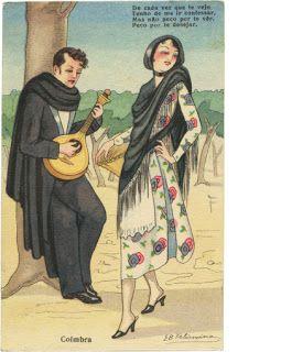 Postal ilustrado intitulado «Coimbra», com assinatura da artista Elisa Bermudez Felismino, circulado em Portugal no ano de 1942.
