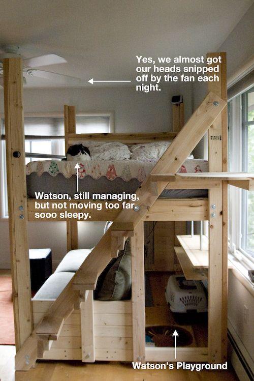 Cama arriba, sillon abajo que se haga cama tambien.. y ponerle una tela que cubra(el otro pin)