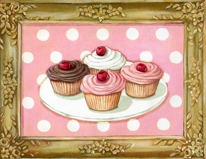Gilded Sweetness Cherry Cupcakes within faux painted frame canvas print by Everyday is a Holiday  #cupcakes #art #gilded #frame #bakery #retro #vintage #pink #cherries #polka dots