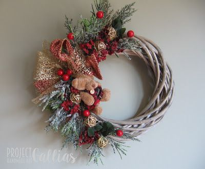 Project Gallias: Miś, Christmas wreath with teddy bear