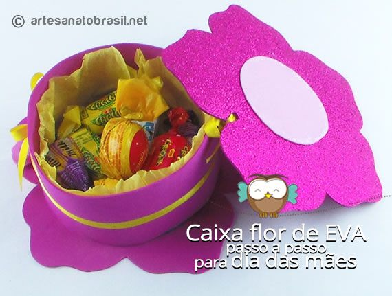 Lembrancinha Caixa flor de EVA para dia das Mães