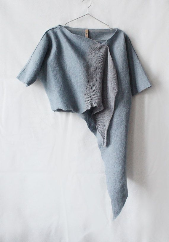 Wool Jacket Grey knitted and felted asymmetric cardigan