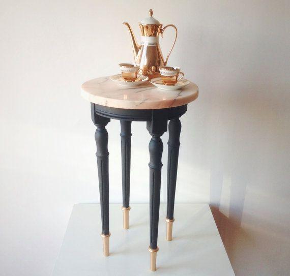 Lovely Vintage Pale Pink Marble Side table / Restored / Black