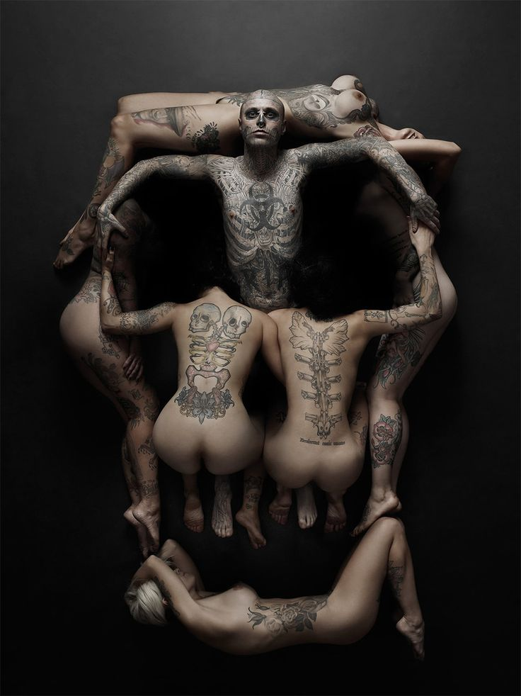 "Rick Genest and other models were photographed by Joey L. for the cover of Rebel Ink tattoo magazine. The photo session was based on Dali's skull art and past era paintings evoking ""Memento Mori,"" a reminder that death is inevitable. °"