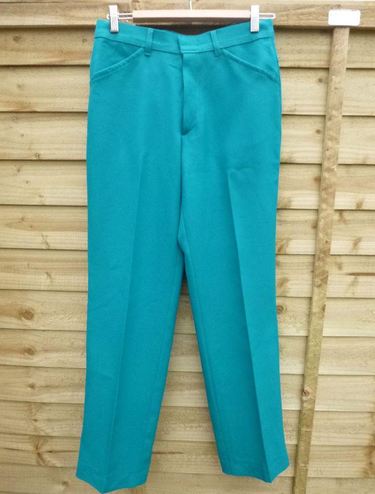 Mens Womens Vintage Farah Trousers Slacks 1970s VGC Turquoise W30 L31