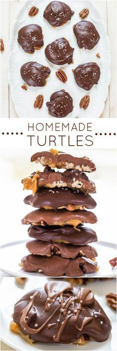 Homemade Turtles - Fast, easy, no-bake and just 4 ingredients! Chewy, gooey, salty-and-sweet! Homemade always tastes better! Yum!! #bagifts #giftidea #gifts