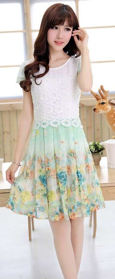 Floral Printed Skirt Lace Top Chiffon Dress YRB0037