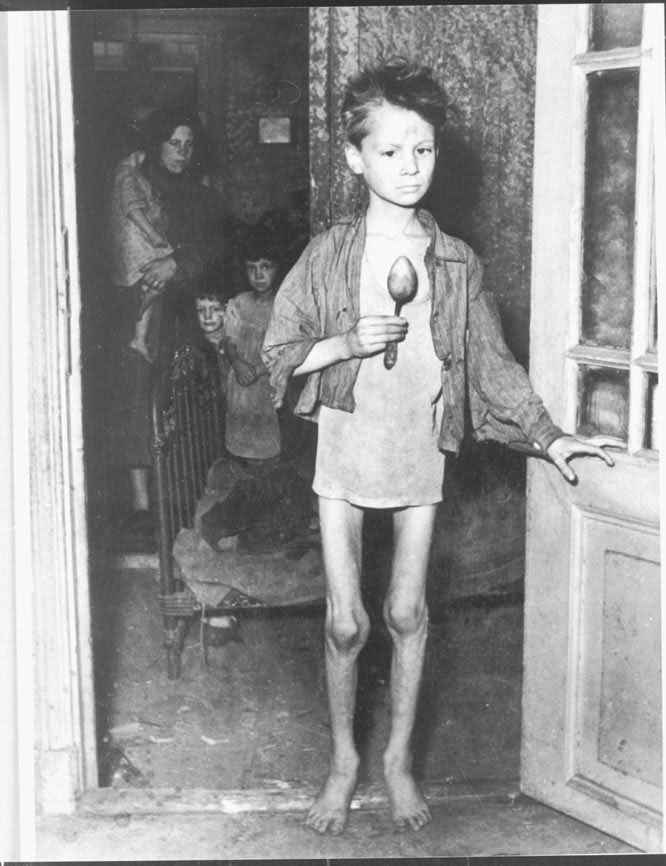 The Hunger Winter. In the Hongerwinter, Dutch rail workers went on strike to stop the Germans, who punished them by putting a hold on all maritime transport. This cut off all their food and fuel. Many Dutch went to the countryside to trade with farmers, the Allied forces dropped food from the air, but many still starved to death. (This boy, Henkie, survived.)