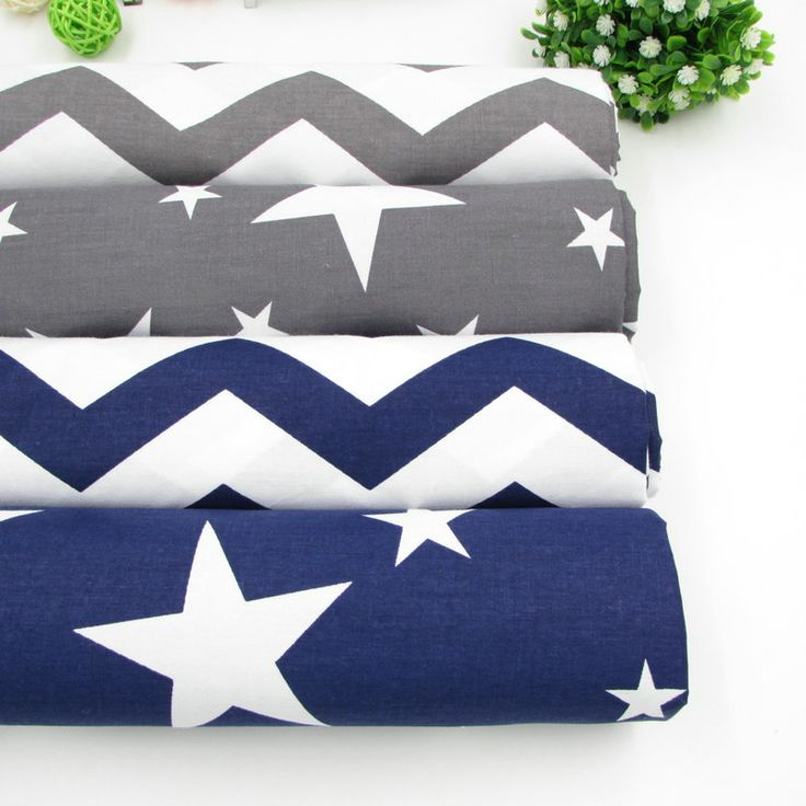 50*160cm Grey Dark Blue Stars Chevron Design Cotton Fabric for Baby quilts Pillow Cushion Sewing Fabric Material Patchwork Telas