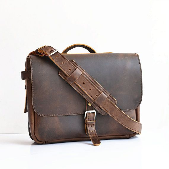 US Postal Bag Mens Leather Messenger Bag Men by SolidLeatherCo