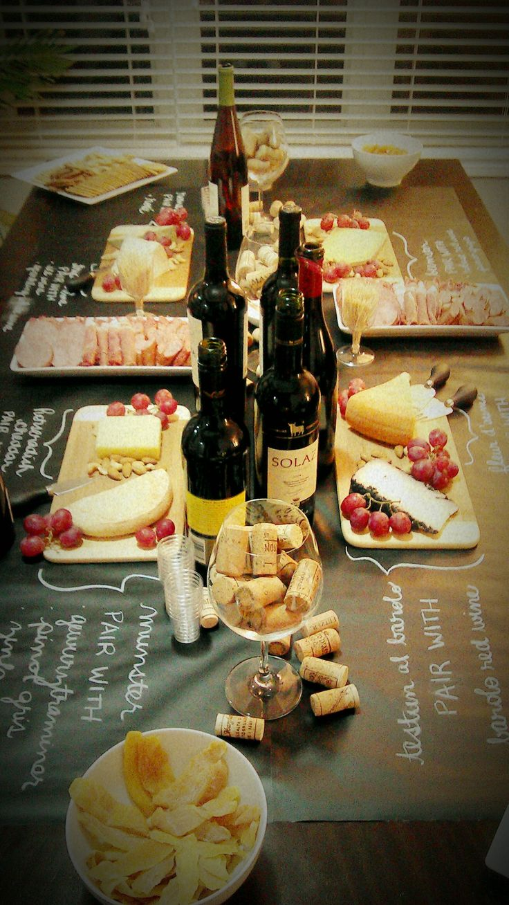 "Wine And Cheese Pairings…On Your ""Tablecloth"" Black paper and chalk ... perfect!"