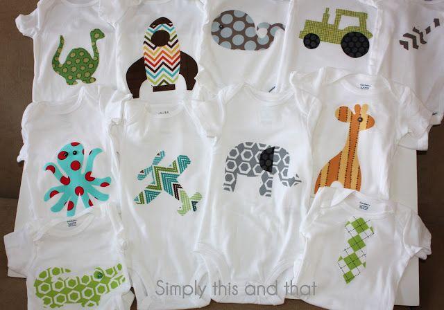 DIY Fabric Applique Boy Onesies - No Sew: onesie, fabric, Ultrahold Heat & Bond, template (google a shape, print & cut out).