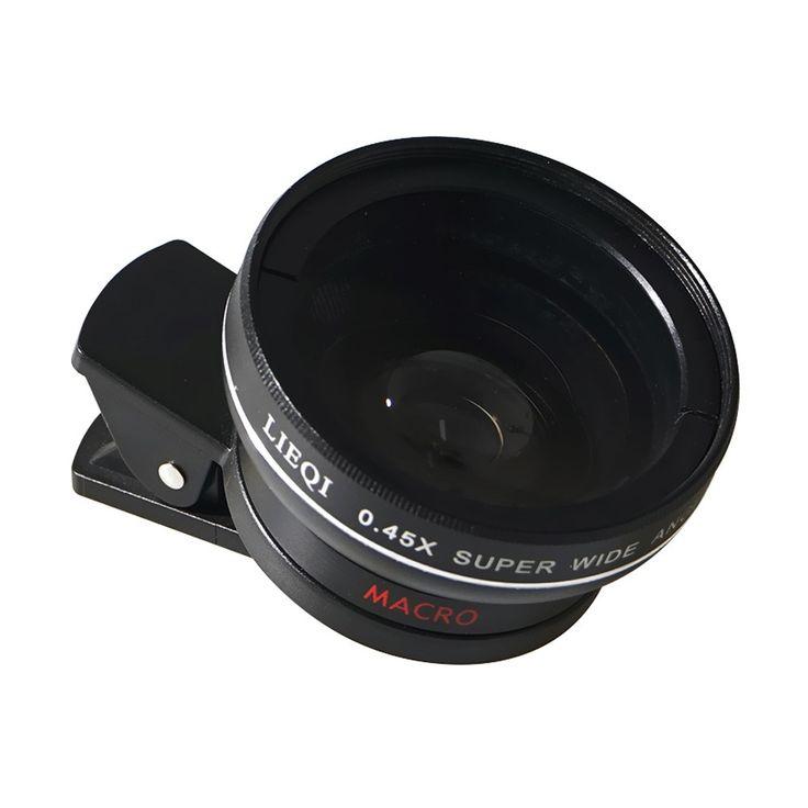 LIEQI LQ-027 2 in 1 Optical Glass Lens 0.45X Wide-angle Lens Sales Online black - Tomtop.com