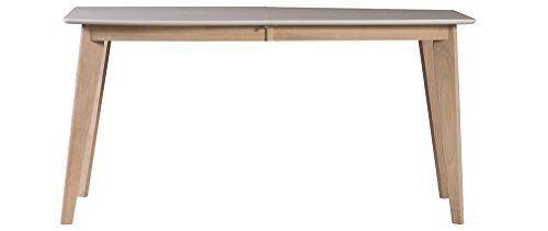Miliboo - Tavolo da pranzo design design allungabile 150 cm 50 cm bianco e legno chiaro LEENA amazon