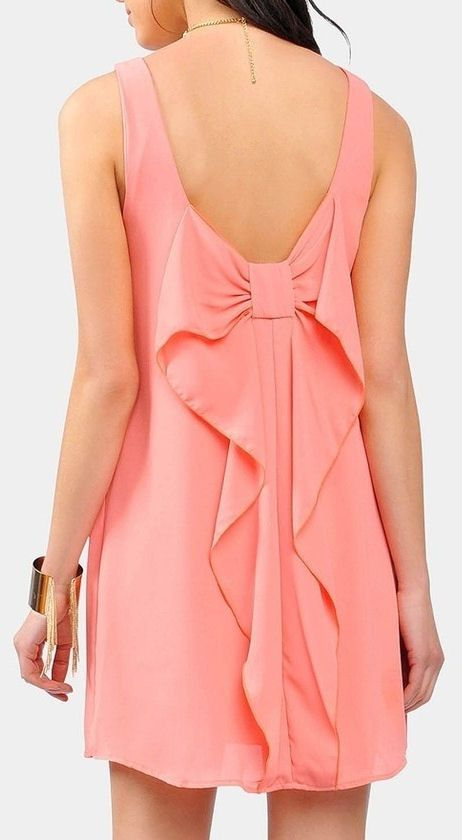 Coral Cascading Back Bow Dress