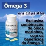 """Herbalifeline - Óleo de peixe com Ômega 3 em cápsulas. Exclusiva combinação de óleos marinhos altamente refinados, fonte de Ômega 3, especialmente EPA e DHA. Por que consumir o Herbalifeline? • O consumo de ácidos graxos Ômega 3 auxilia na manutenção de níveis saudáveis de triglicerídeos (gorduras """"ruins""""). • Contém 200 mg de Ômega 3 por cápsula. • Composto por lipídios marinhos. • Contém 54% da ingestão diária recomendada de Vitamina E. Saiba mais: http://vivaplenamente.com/herbaline.php"""