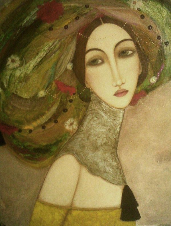 I love these paintings by Faiza Maghni. They put a Klimt spin on Persian art, with elaborate patterns, soft eyes and beautiful colors.
