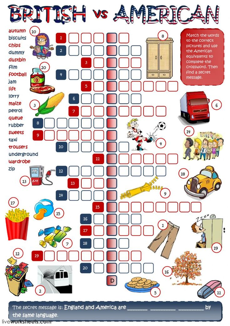 British and American English interactive and downloadable worksheet. You can do the exercises online or download the worksheet as pdf.