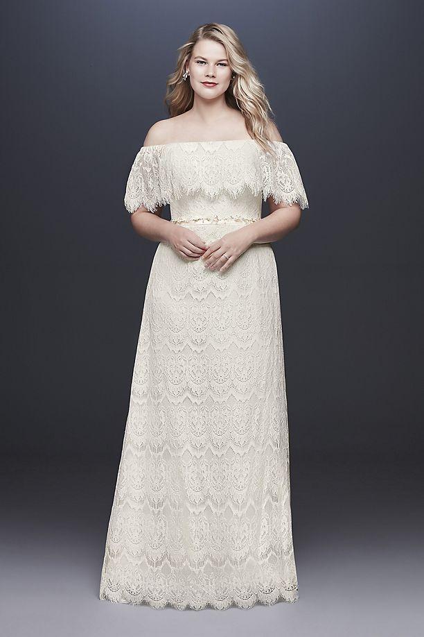 82c964eac2c Galina Off-The-Shoulder Eyelash Plus Size Wedding Dress