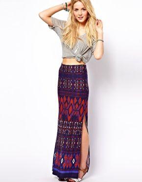 Image 1 - ASOS - Maxi jupe motif aztèque