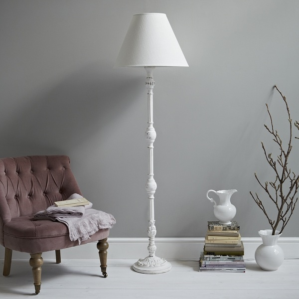 Carved White Standard Lamp, £128, Rigby & Mac