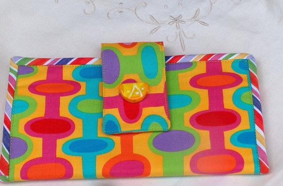 Neon SUMMER Orange Slice Cotton HandMade Wallet by PineyWoodGal, $35.00