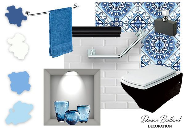 Décoration aménagement intérieur / WC toilettes handicapé PMR / planche ambiance / idée inspiration / Danaé BALLAND décoratrice / www.danaeballand-decoration.fr