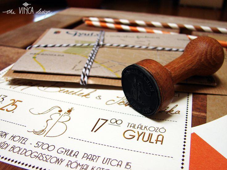 Vinca Design, rustic wedding, wedding invitation suite, wedding stationery, info card, stamp // rusztikus esküvő, esküvői meghívó, útmutató, pecsét