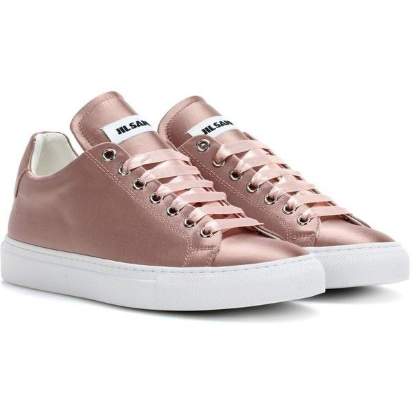 Jil Sander Satin Sneakers (1,900 MYR) ❤ liked on Polyvore featuring shoes, sneakers, pink, jil sander sneakers, jil sander, pink sneakers, pink shoes and satin shoes